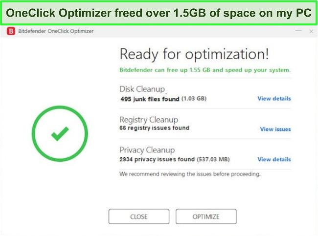 Screenshot of Bitdefender's OneClick Optimizer tool.