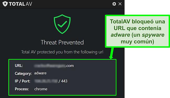 Captura de pantalla que muestra a TotalAV bloqueando una URL maliciosa que aloja software publicitario.