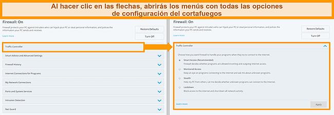 Captura de pantalla de las opciones de firewall de McAfee.