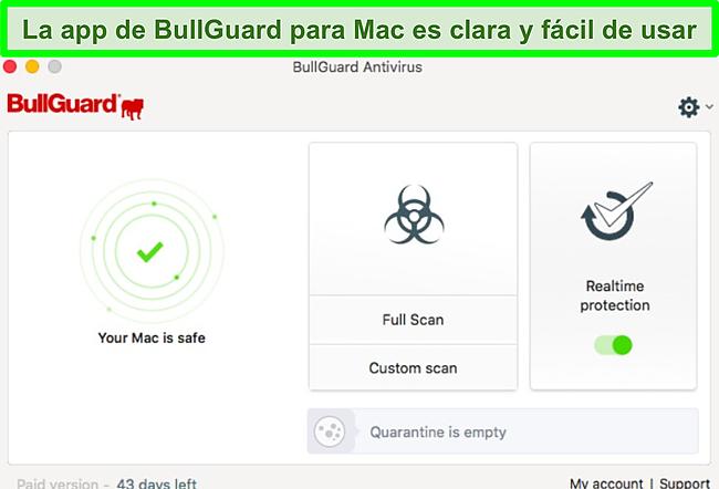 Captura de pantalla de la interfaz de la aplicación BullGuard en Mac.