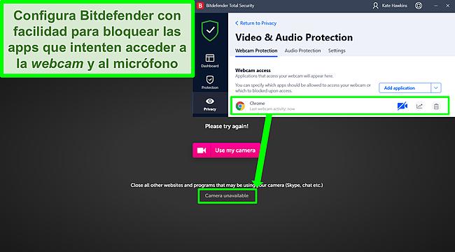Captura de pantalla de Bitdefender que bloquea el acceso a la cámara web a un sitio web.