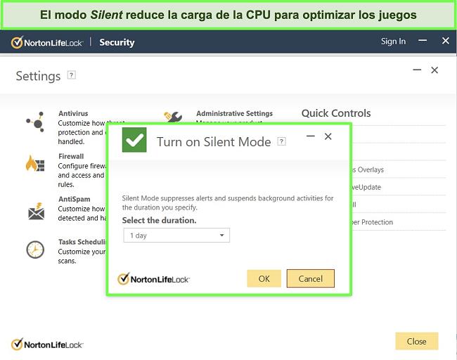 Captura de pantalla de la función de modo silencioso de Norton LifeLock