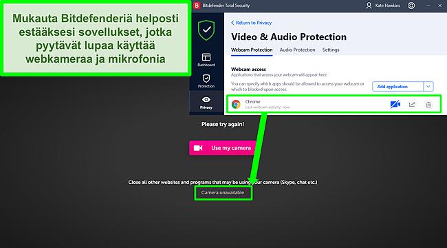 Näyttökuva siitä, kuinka Bitdefender estää verkkokameran pääsyn verkkosivustolle.