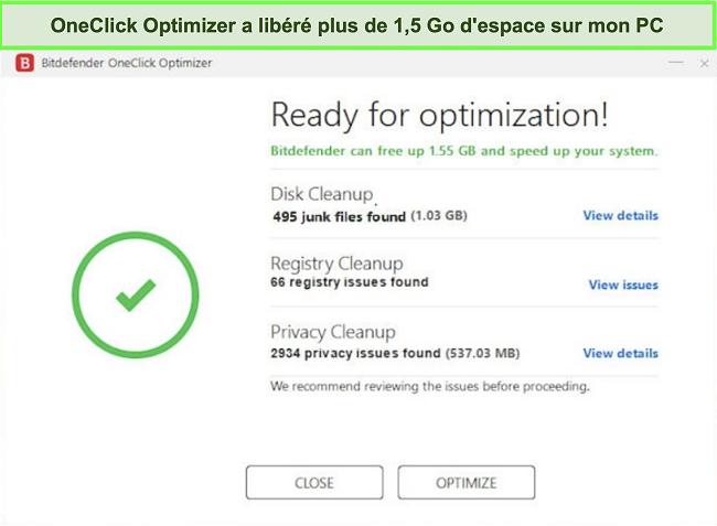 Capture d'écran de l'outil OneClick Optimizer de Bitdefender
