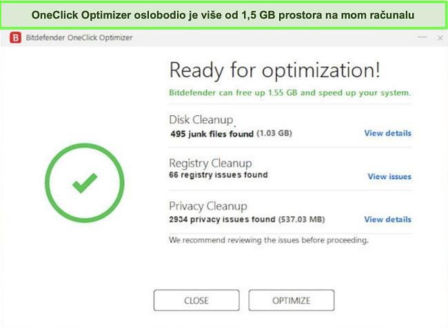 Snimka zaslona Bitdefenderovog alata OneClick Optimizer
