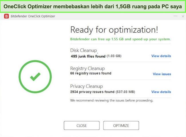 Tangkapan layar alat Pengoptimal OneClick Bitdefender