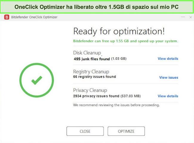 Screenshot dello strumento OneClick Optimizer di Bitdefender