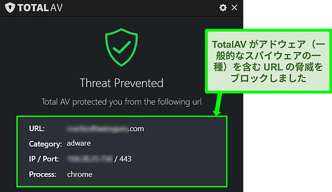 TotalAVがアドウェアをホストしている悪意のあるURLをブロックしていることを示すスクリーンショット。