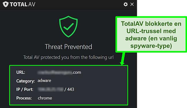 Skjermbilde som viser TotalAV som blokkerer skadelig URL-programvare.