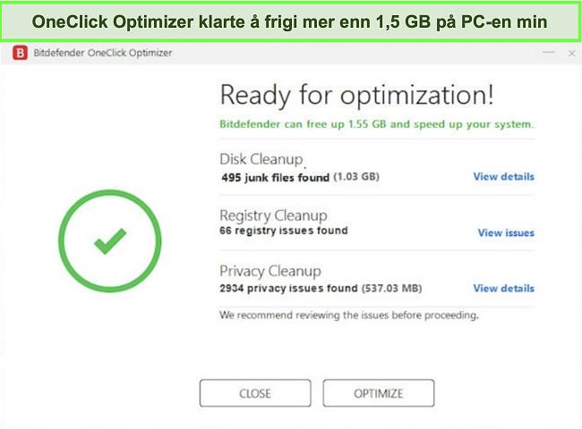 Skjermbilde av Bitdefenders OneClick Optimizer-verktøy