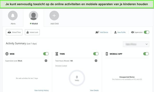 Screenshot van Norton's dashboard voor ouderlijk toezicht