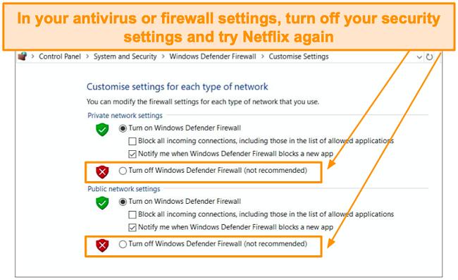 Screenshot of firewall and security settings.