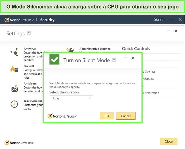 Captura de tela do recurso Modo silencioso do Norton LifeLock
