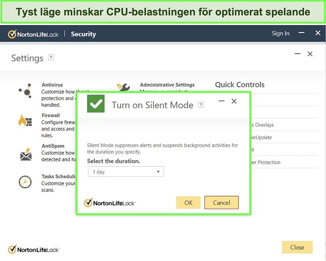 Skärmdump av Norton LifeLocks Silent Mode-funktion