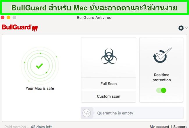 ภาพหน้าจอของอินเทอร์เฟซแอพของ BullGuard บน Mac