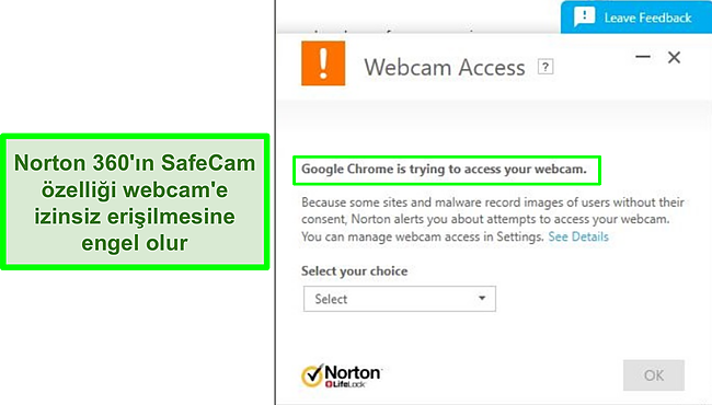 Norton'un Google Chrome'un web kamerasına erişme girişimini engellediği ekran görüntüsü.