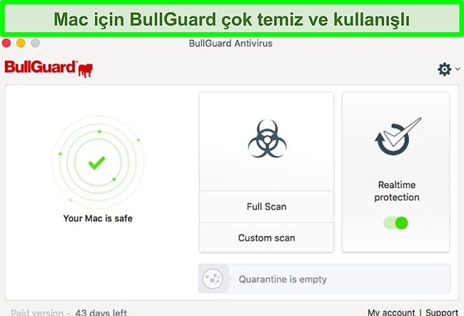 BullGuard'ın Mac'teki uygulama arayüzünün ekran görüntüsü.