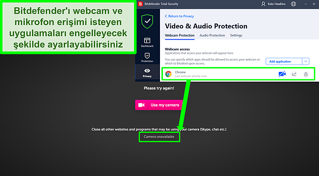 Bir web sitesine web kamerası erişimini engelleyen Bitdefender'ın ekran görüntüsü.
