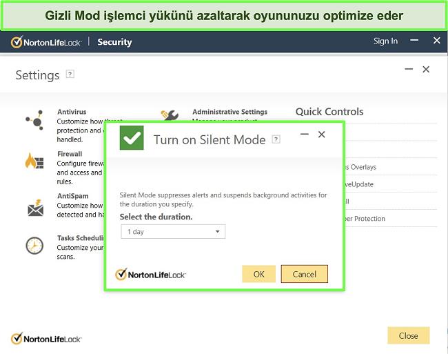 Norton LifeLock'un Sessiz Mod özelliğinin ekran görüntüsü