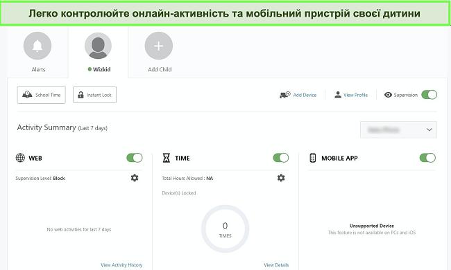 Знімок екрана інформаційної панелі батьківського контролю Нортона