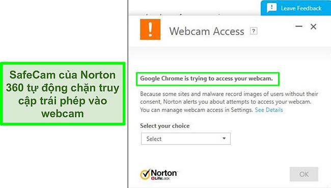 Ảnh chụp màn hình Norton chặn nỗ lực truy cập webcam của Google Chrome.
