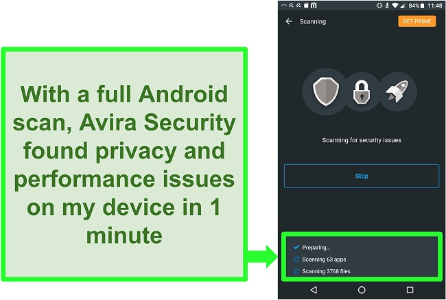 Screenshot of a scan on progress using Avira Security free for Android