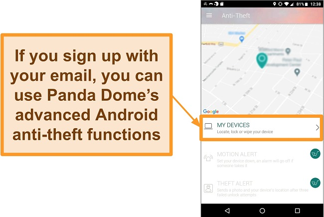 Screenshot of Panda Dome's anti-theft system on an Android mobile device