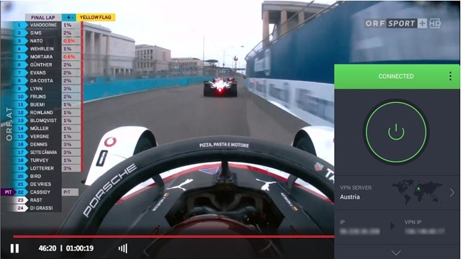 Screenshot of an F1 race streaming on ORF while PIA is connected to a server in Austria
