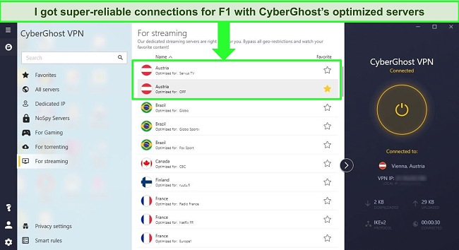 Screenshot of CyberGhost's streaming server menu showing a server for unblocking ORF in Austria