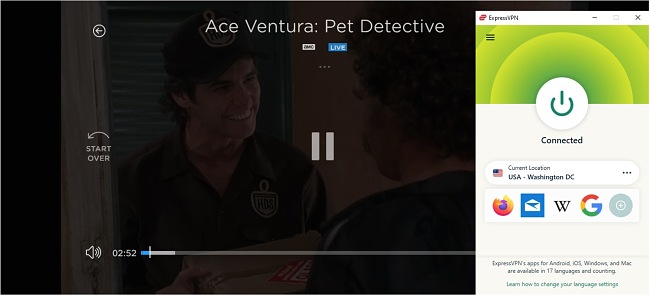 Screenshot of Ace Ventura: Pet Detective streaming on Philo while ExpressVPN is connected to a server in the US