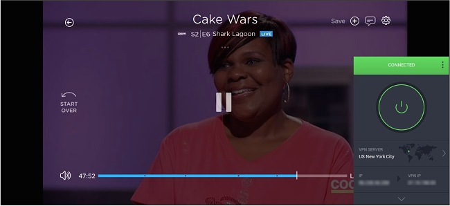 Screenshot of Cake Wars streaming on Philo while PIA is connected to a server in New York City