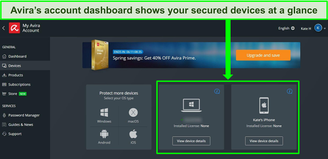 Screenshot of Avira's account dashboard showing devices with the free plan installed.