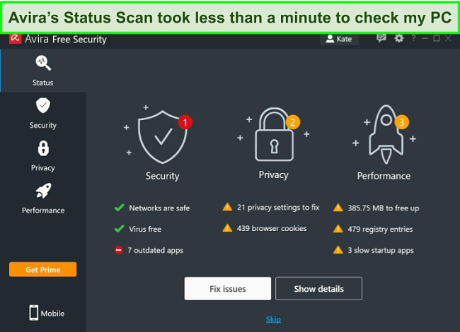 Screenshot of Avira's Windows app with the results of a Status Scan displayed.