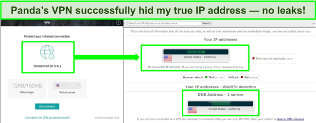 Screenshot of Panda's VPN connected to a US server with the results of an IP leak test showing no leaks.