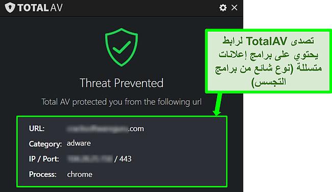 لقطة شاشة تعرض TotalAV حظرًا لعنوان URL ضار يستضيف برامج إعلانية.