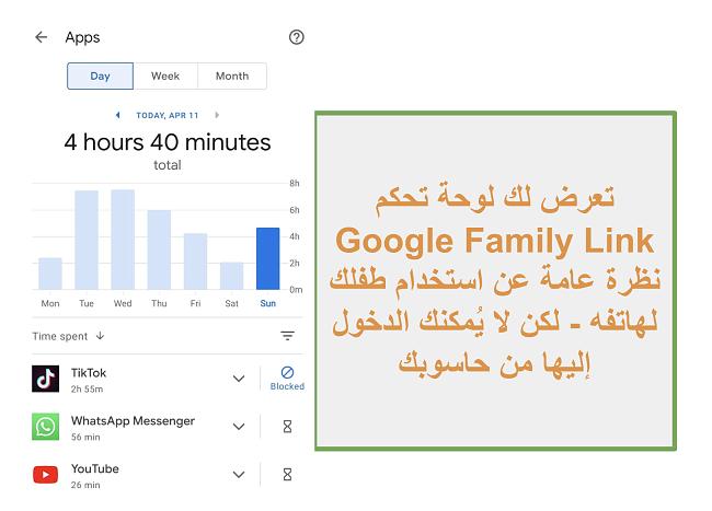 لقطة شاشة لنظرة عامة على Google Family Link حول استخدام هاتف الطفل