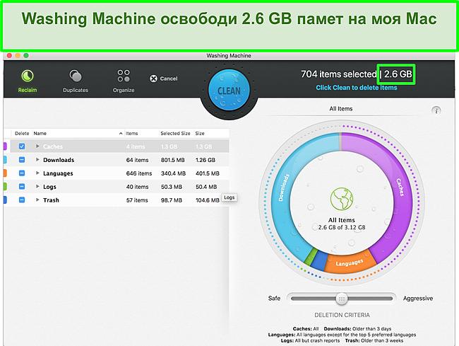 Екранна снимка на пералната машина на Intego, оптимизираща Mac