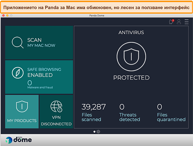Екранна снимка на таблото за управление на приложението на Mac на Panda