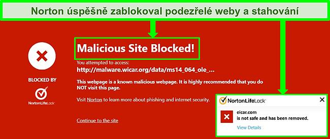 Screenshot z aplikace Norton 360 blokující škodlivé položky