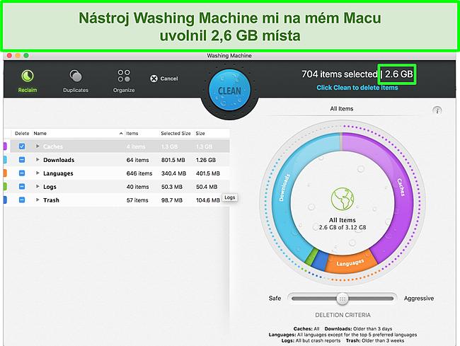 Screenshot funkce Intego pro pračku optimalizující Mac