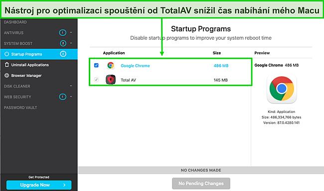 Screenshot optimalizace spouštění TotalAV běžící na Macu