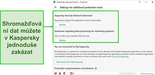 Screenshot z nastavení sběru dat společnosti Kaspersky