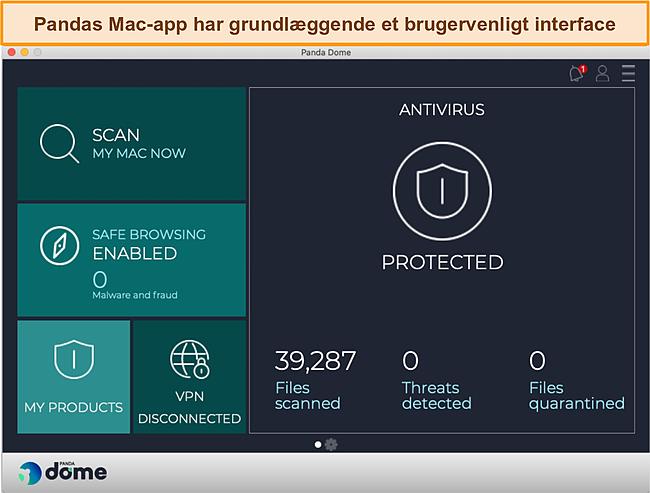Skærmbillede af Pandas Mac-app dashboard