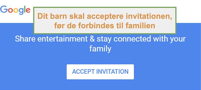 Skærmbillede af Google Family Links invitation til at deltage