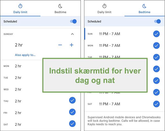 Skærmbillede af Google Family Links skærmtidindstillinger for hver dag og nat