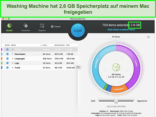 Screenshot der Intego-Waschmaschine zur Optimierung des Mac
