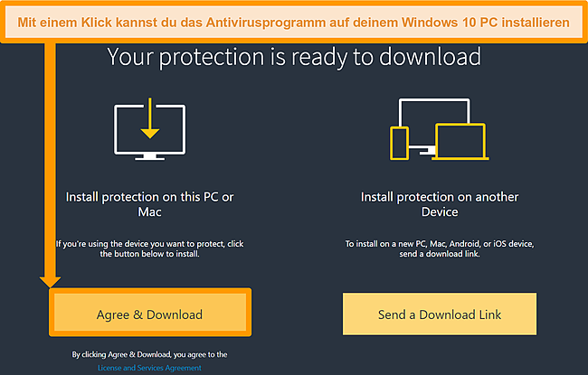 Screenshot des Download-Links für Norton 360