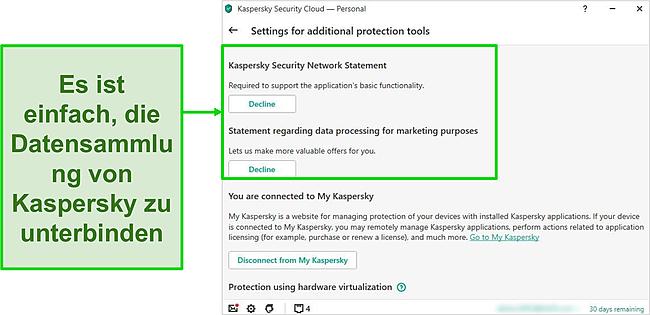 Screenshot der Datenerfassungseinstellungen von Kaspersky