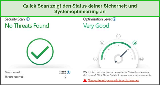 Screenshot des Trend Micro-Schnellscans mit Informationen zur Sicherheit und Systemoptimierung