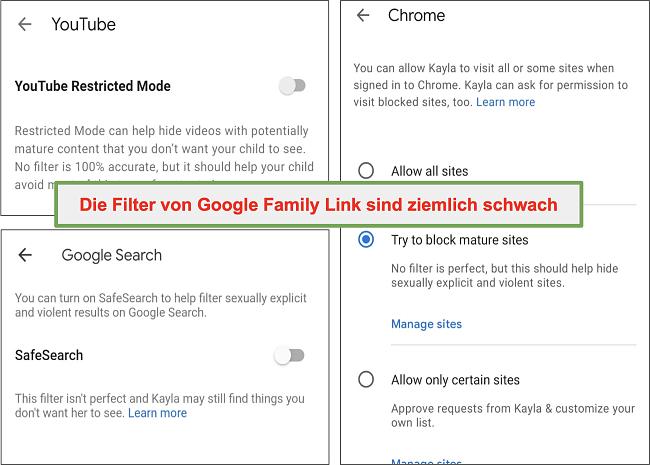 Screenshot der ziemlich schwachen Filter von Google Family Link